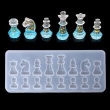 Molde de silicona de forma de ajedrez internacional molde de resina epoxi de arcilla DIY moldes colgantes M5TC