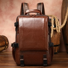 2020 new leather backpack unisex 15 inch large capacity computer backpack retro outdoor mountaineering travel bag new