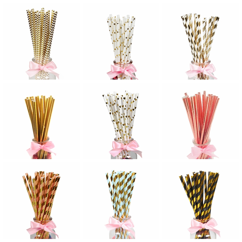 25/100Pcs Paper Drinking Straws Birthday Party Decoration Boy Girl DIY Wedding Bachelorette Hen Party Bride To Be Bridal Shower