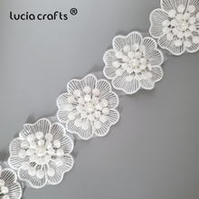 Lucia Crafts 1yard/lot  3D Flower Butterfly Lace Wedding Lace Trim Embroidered Handmade Patchwork Ribbon Sewing Supplies R0709
