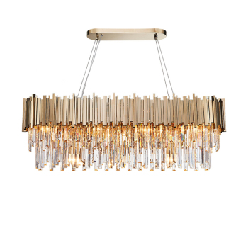 Phube Lighting Modern Crystal Chandelier Luxury Oval Gold Hanging Light Fixtures Dining Room Suspension LED Lustres - discount item  16% OFF Indoor Lighting