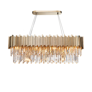 Image 1 - Phube Verlichting Moderne Kristallen Kroonluchter Luxe Ovale Gouden Opknoping Verlichtingsarmaturen Eetkamer Suspension Led Lustres