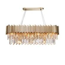 Phube iluminação moderna lustre de cristal luxo oval ouro pendurado luminárias sala jantar suspensão led lustres