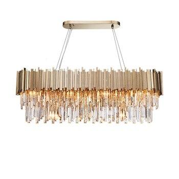 Phube oświetlenie nowoczesny kryształowy żyrandol luksusowe owalne złoto wiszące oprawy oświetleniowe jadalnia zawieszenie LED nabłyszczania
