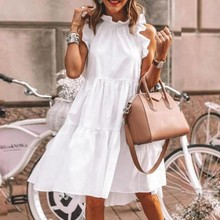 Solid Loose White Dress Women Summer Ruffle O Neck Dresses Fashion Ladies Sleeveless Holiday Party Knee Length Dress Vestidos