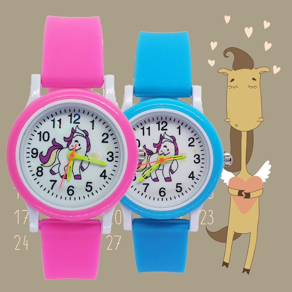 Fashion 3d Horse Style Children's Watches Kids Student Girls Boys Leather Quartz Wristwatches Unicorn Watch Christmas Gift D010