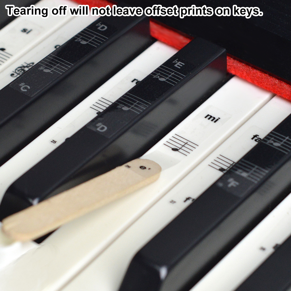 Dropship 5PCS 54/61/88 Key Piano Stickers Transparent Piano PVC Sticker Stave Electronic Keyboard Note Sticker Accessories