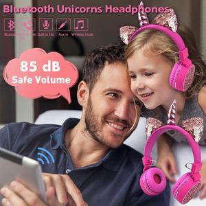 Image 2 - Fone de ouvido sem fio de unicórnio para crianças, headset estéreo com bluetooth, estéreo, desenho animado, para adultos, meninos e meninas, presentes