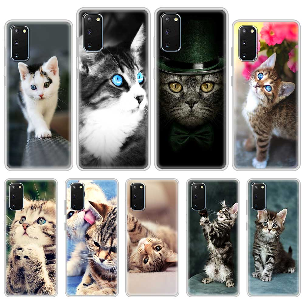 Cat Cute Kitten Catling Translucent Case For Samsung Galaxy S20 FE S21 S9 S10 Plus Note 20 Ultra 10 Lite 9 Matte Phone Cover
