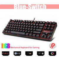 K552 Metal USB Teclado mecánico interruptor azul teclado para juegos DIY ergonómico Rgb Led retroiluminado teclas 87 teclas ordenador jugador