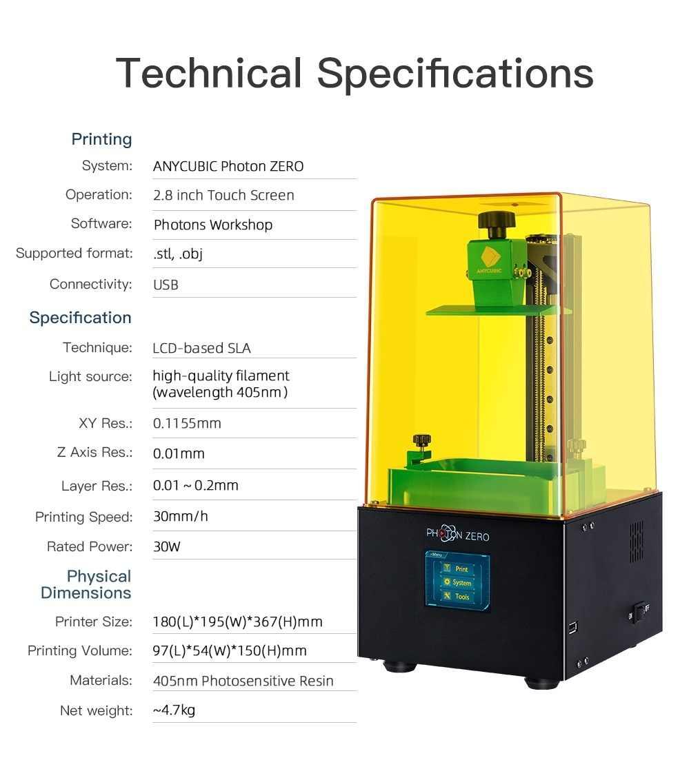 2020 nueva impresora 3D ANYCUBIC Foton/foton-s/foton-zero 405nm matriz UV módulo SLA impresora 3d impresora de resina UV impresora 3d