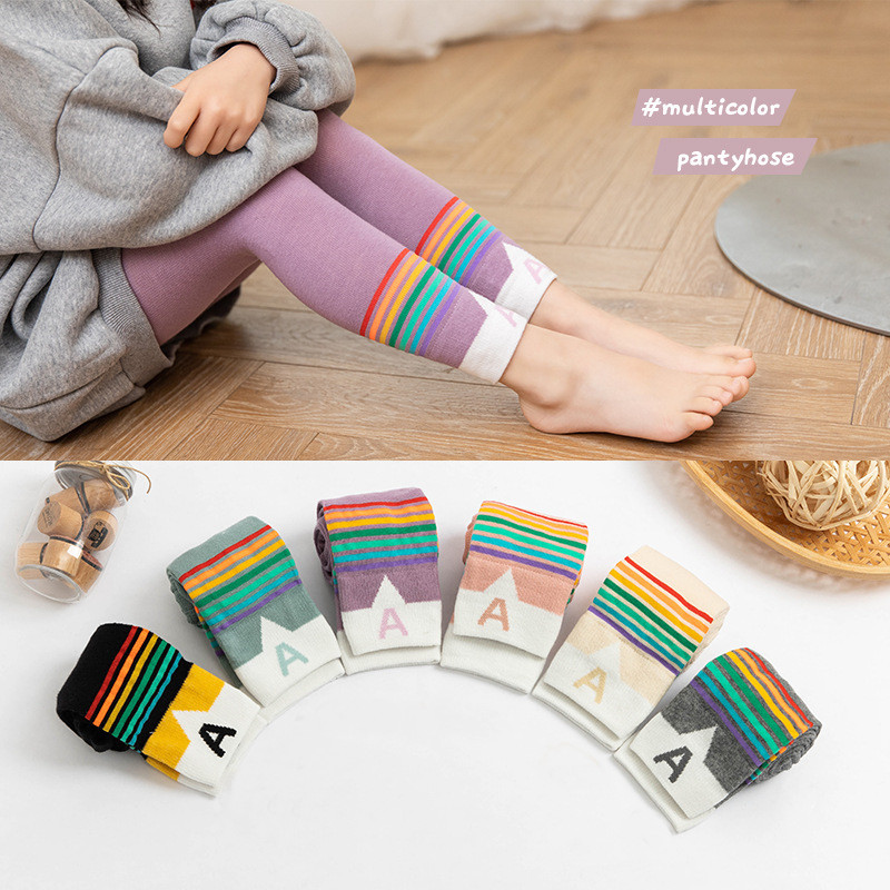 Girls Leggings Patchwork Pants Baby Girl Colorful Trousers Spring Autum Cotton Knit Leggings Cute Casual Pants