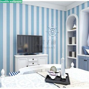 Ropa De Cama A Rayas Azules Y Blancas | Fondo De Dormitorio De Niño De 0,53x10 M Papel Pintado De Estilo Mediterráneo Azul Moderno Minimalista Azul Blanco Rayas Verticales Papel Pintado
