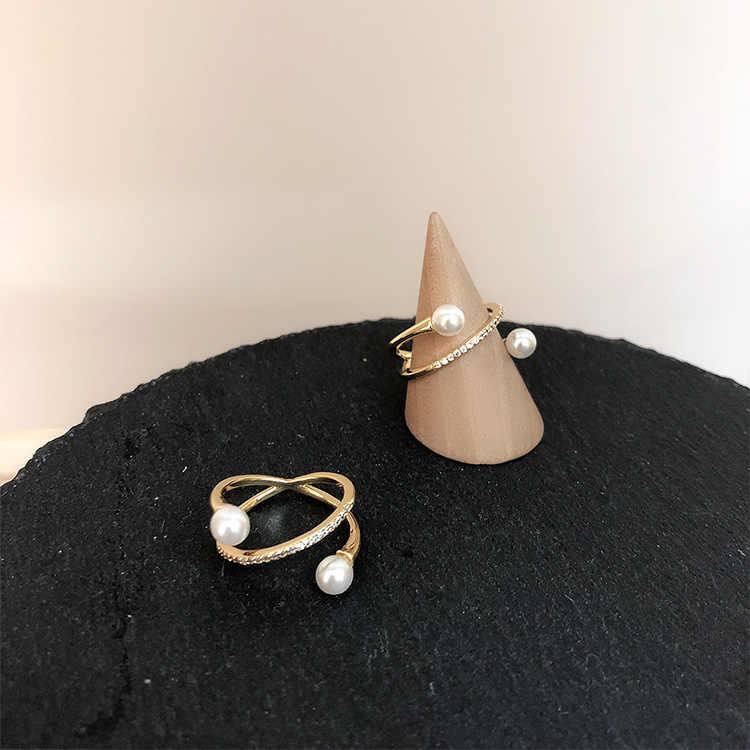 แหวนผู้หญิงคนแปลกหน้าแหวนแฟชั่นเครื่องประดับสุภาพสตรีไข่มุกแหวนคุณภาพสูงเปิดแหวนเครื่องประดับ