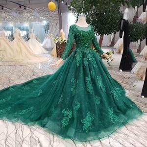 Image 3 - HTL257 зеленые дешевые вечерние платья 2020 с поездом Индивидуальный размер o образным вырезом с длинными рукавами а силуэта для матери невесты