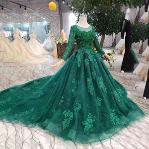 Image 3 - HTL257 Green Cheap Evening Dresses 2020 With Train Custom Size O Neck Long Sleeves A Line Mother Of Bride