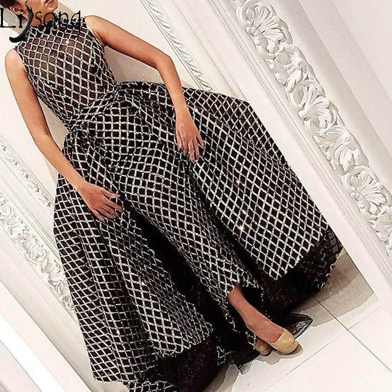 Saudi Arabic Black Net Sequined Lace Mermaid Evening Dresses With Detachable Train High Collar Prom Gowns 2019  Robe De Soiree