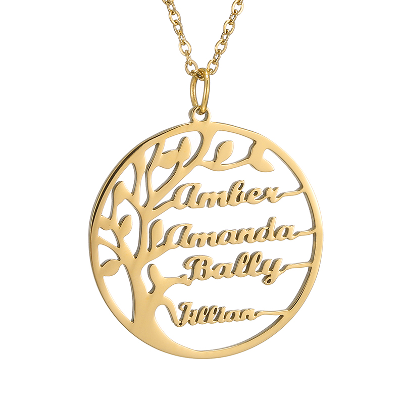 Personalized Customization 4 Name Necklace Tree of Life Babygirl Pendant Gold Friendship Necklace Jewelry for Women Man Gift