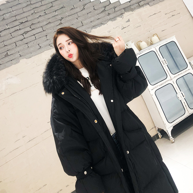 Fashion White Fur Collar Hooded Warm Coat Women X-long Jacket 2020 New Winter Loose Down Jacket Thick Coat Female Outerwear WM22 5