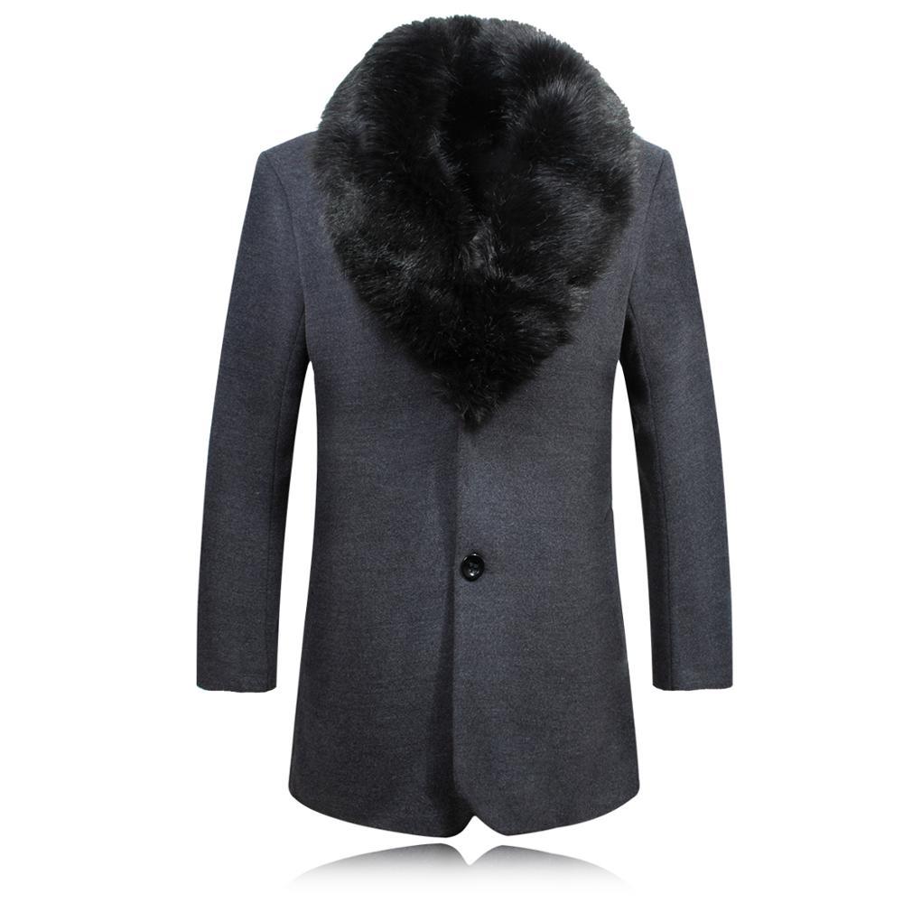 Overcoat Male Wool Blend Mid Long Winter Coat Men With Fur Collar Coat Men Winter Trench Manteau