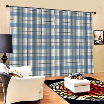 Modern Home Decoration Curtains 3d Blue gray white grid  Curtains Decoration European 3D Curtains For Living room Blackout