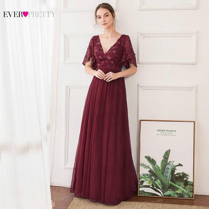 Elegant Floral Lace Bridesmaid Dresses Ever Pretty A-Line Short Sleeve Double V-Neck Tulle Wedding Party Dresses Robe De Mariee