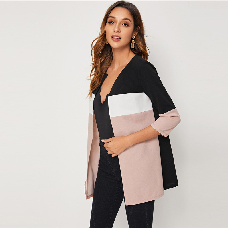 H229842106466421f990dbb67e3270100q SHEIN Colorblock Round Neck Cut And Sew Open Front Basic Coat Women 2019 Autumn 3/4 Length Sleeve Ladies Casual Outwear Coats