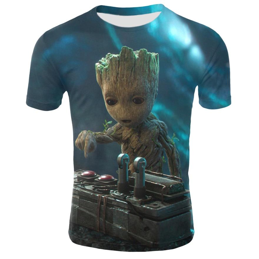 2019 Groot Galaxy Guard T-shirt Summer New Men's 3D Printing Men And Women Casual T-shirt