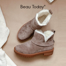 Snow-Boots Platform Beautoday Handmade Top-Brand Genuine-Leather Women Winter Wool Ankle