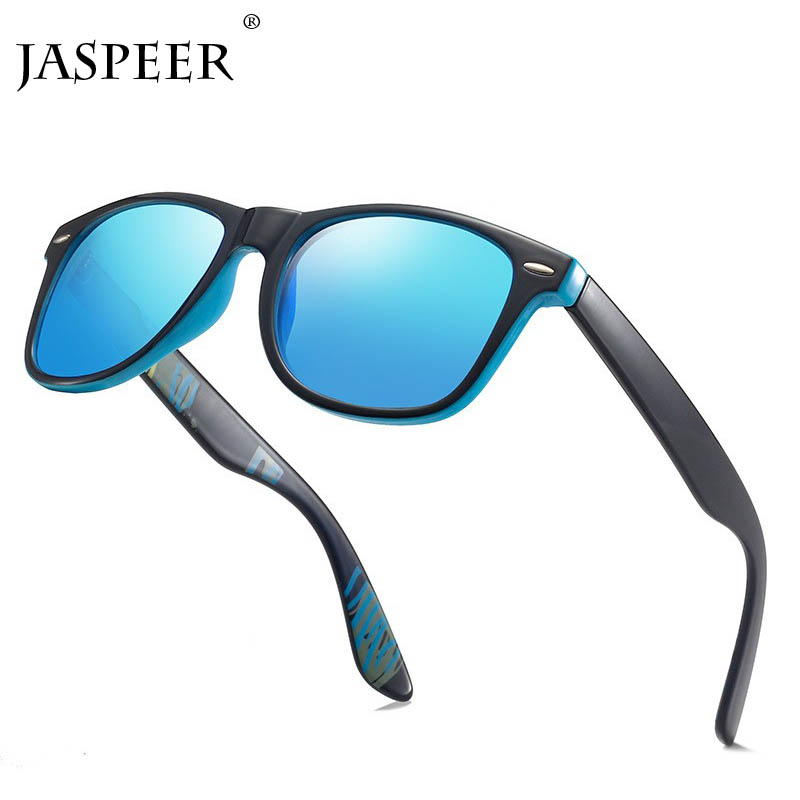 JASPEER Ultralight Square Sunglasses Men Women Vintage Plastic Frame Black Mirror Glasses Male Driving Goggle Eyewear UV400