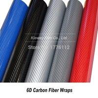 High Glossy Black Carbon Fiber Vinyl Wrap 6D black silver blue grey red carbon fiber vinyl Car Stickers wholesale 5m/10m/18m