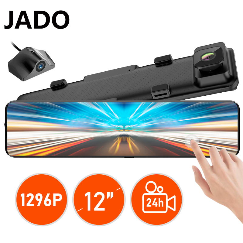 JADO T690 1296P Lens Driving Video Recorder Dash Cam 12-inch Car Dvr Camera Dashcam FHD Dual 24 Hours Car Rear View Camera Cool