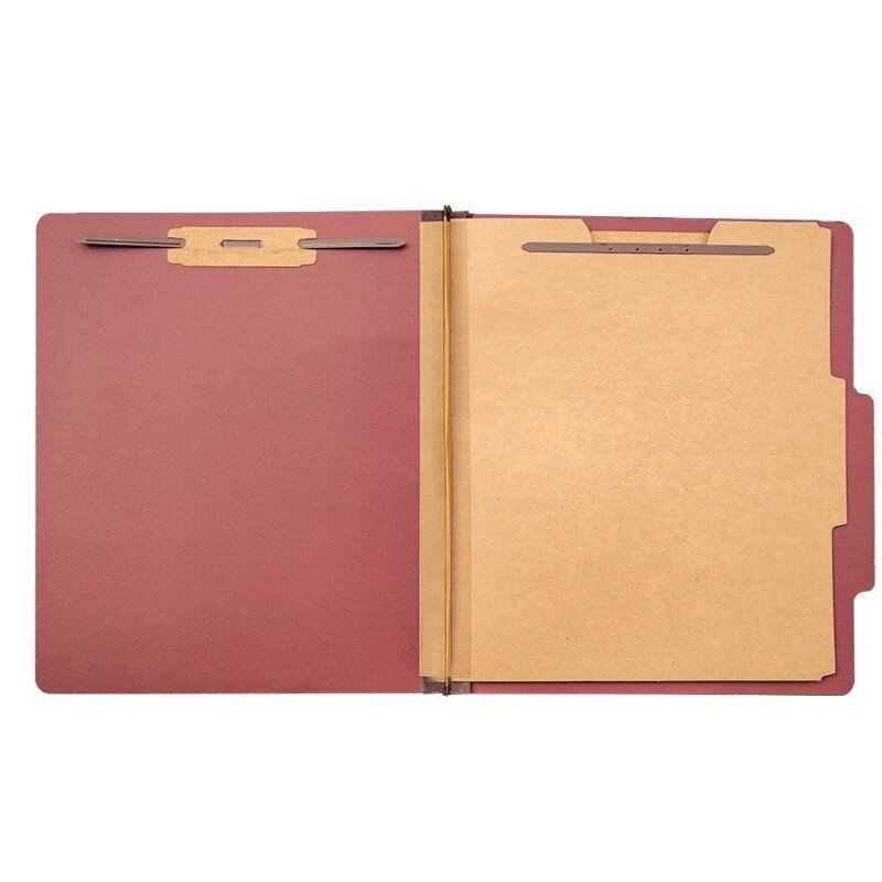 Pressboard Classification File Folder With Prong Fasteners, 2 Dividers, 2