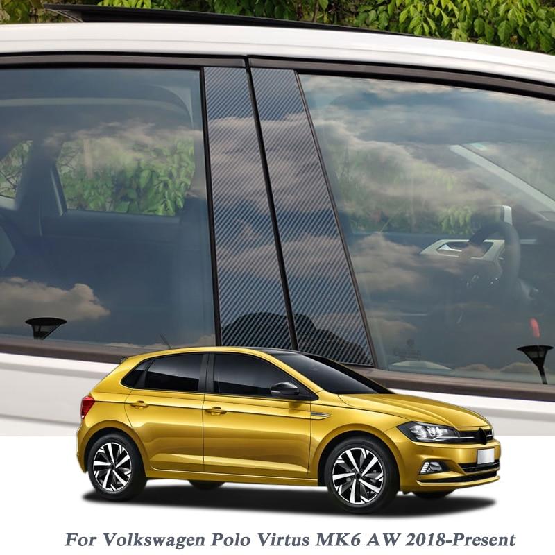 Car-styling For Volkswagen Polo Virtus MK6 AW 2018-Present Car Window Center Pillar Stickers Trim External Film Auto Accessories