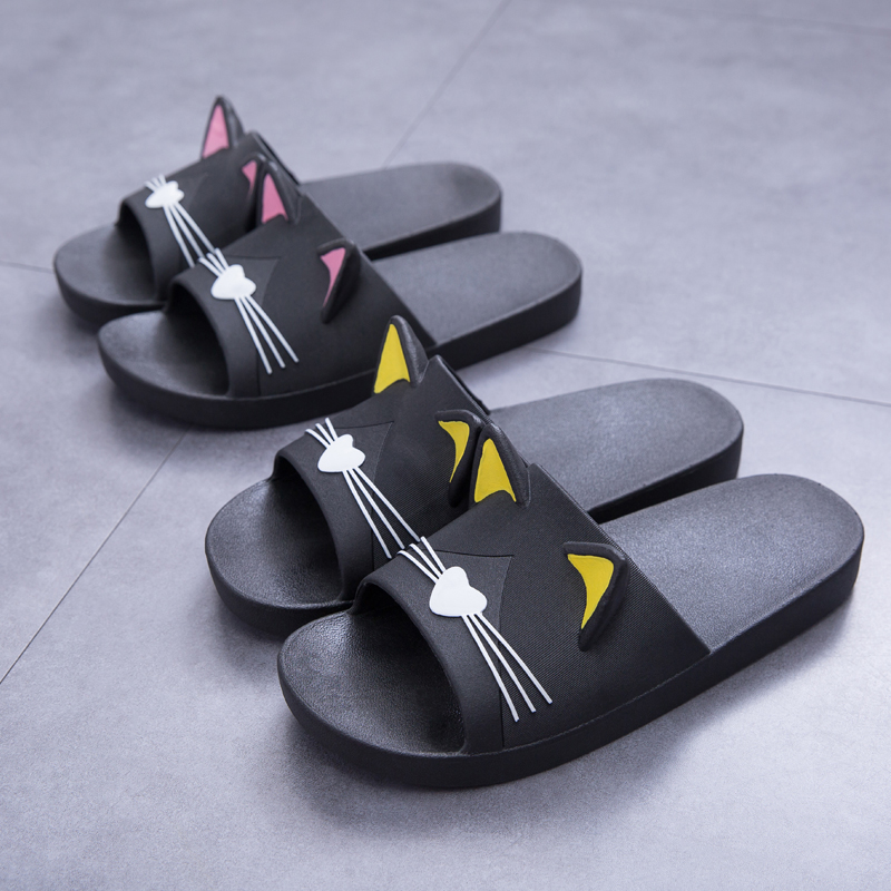 Women Summer Slippers Slide Sandals Beach Slides Cartoon Cats Flip Flops Soft Sole Comfortable Women Men Couple Bathe Shoes