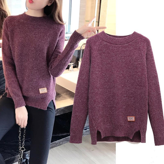 2019 Women Sweaters And Pullovers Autumn Winter Long Sleeve Pull Femme Solid Pullover Female Casual Short Knitted Sweater W1629