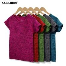 Maijion 5 cores mulheres camisa de yoga para fitness correndo esportes t camisa, secagem rápida suor respirável exercícios manga curta topos