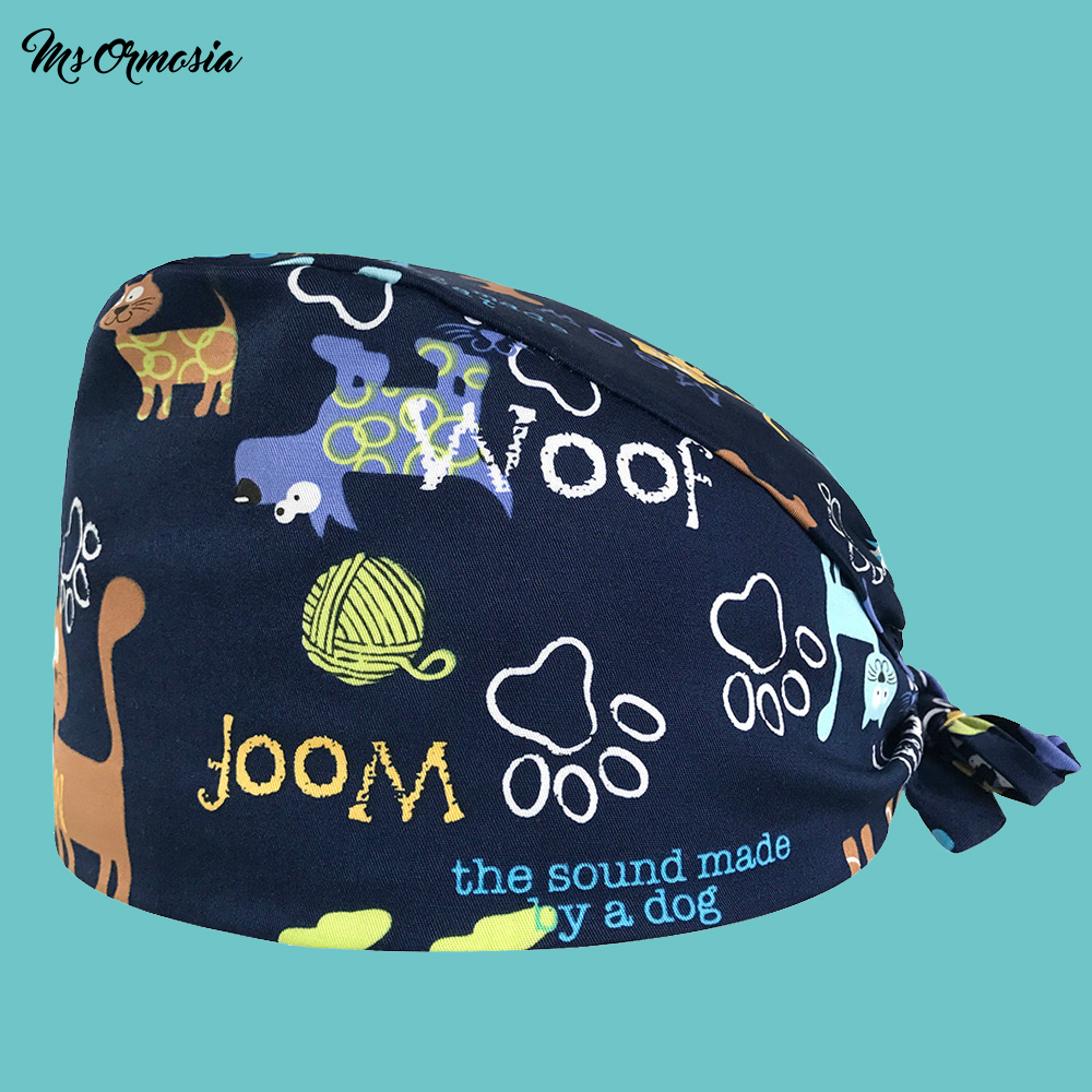 Flower Cat Printing Men And Women 100% Cotton Medical Nurse Cap Medical Doctor Cap Strap Operating Room Surgical Cap Beauty Hat