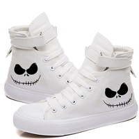 Halloween Canvas Shoes Women Velcro Lace Hig htop Printing Male Sneakers Couple