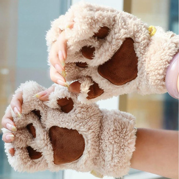 Cute Cat Paw Fluffy Claw Fingerless Gloves Fingerless Panda Women Winter Wear Christmas Gifts Warm Soft Plush image