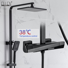 Black Thermostatic Shower Faucets Sets Water Bathroom Mixer Waterfall Faucet Rainfall Shower Systems Thermostat Tap EL9403