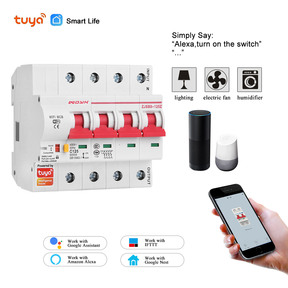 4P WiFi Smart Circuit Breaker Overload Short Circuit Protection With  Amzon Alexa Google Home For Smart Home Smart Life,tuya App