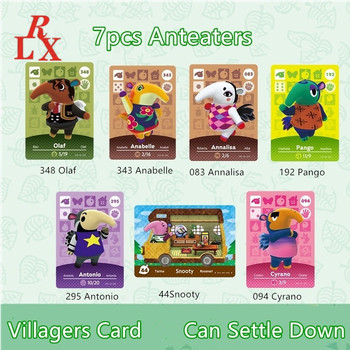 7pcs Anteaters Animal Crossing New Horizons Villager Cards Pango Antonio Cyrano Olaf NFC Game Cards Ntag215 Tags NS Switch WiiU image