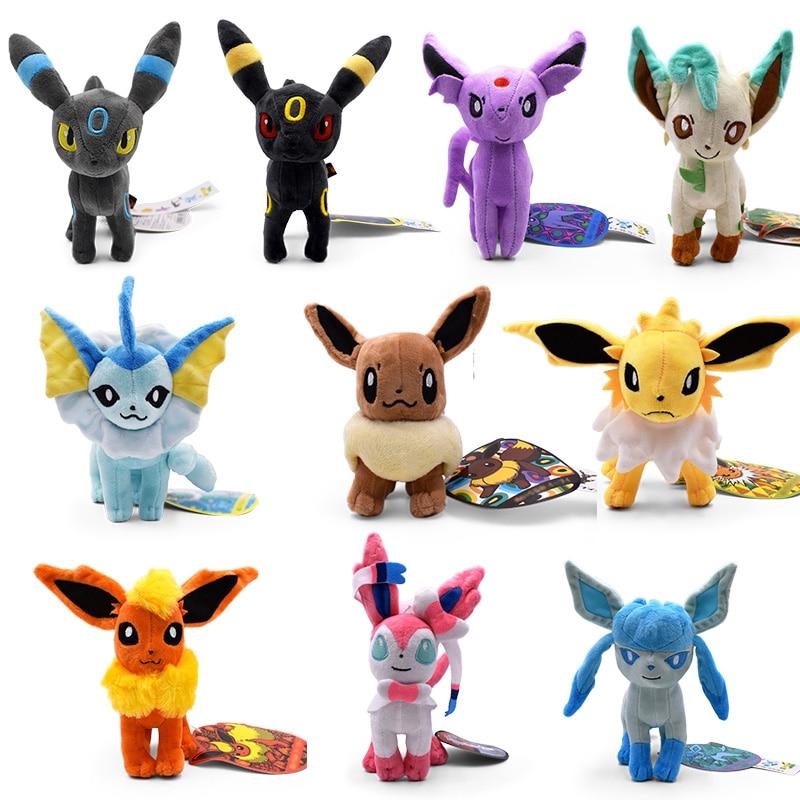 10 Style Eevee Peluche Toys Vaporeon Flareon Umbreon Sylveon Plush Dolls Soft Stuffed Toy Cartoon Dolls Gift Wholesale Price