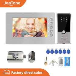 Jeatone7 ''wideodomofon z blokadą wideodomofon do domu mieszkalnego zamek elektryczny System kontroli dostępu, obsługa karty RFIC