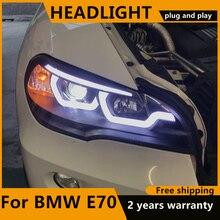 Автостайлинг для BMW X5 e70 2007 2013 фары для BMW X5 фары Автомобильные светодиодные ДХО ближний/Дальний свет H7 HID Ксеноновые Биксеноновые линзы