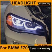 Car Styling for BMW X5 e70 2007 2013 Headlight for BMW X5 Head Lamp Auto LED DRL LOW/HIGH Beam H7 HID Xenon bi xenon lens