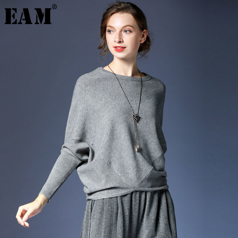 [EAM] Oversize Hollow Out Knitting Sweater Loose Fit Round Neck Long Batwing Sleeve Women New Fashion Autumn Winter 2019 1D325