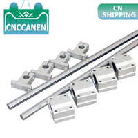 10pcs/set Optical Axis Linear Rail Shaft OD8/10/12mm 200-600mm + SCS8/10/12UU Linear Bearing Blocks + SK8/10/12 Bearing Support