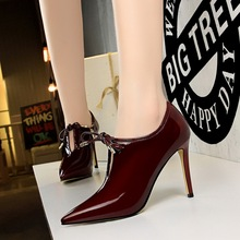 Ankle-Boots High-Heel Pointed-Toe Women Pu No for Pumps Winter Zapatos-De-Mujer Lacquer